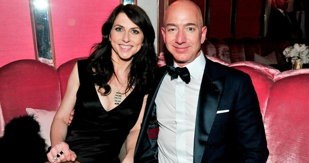 (L-R) CEO of Amazon Jeff Bezos and writer MacKenzie Bezos attend the Amazon Studios Oscar Celebration at Delilah on February 26, 2017 in West Hollywood, California. (Photo by Jerod Harris/Getty Images)