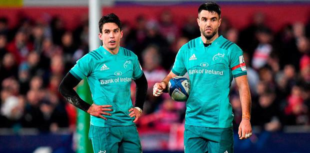 Joey Carbery, left, and Conor Murray of Munster during the Heineken Champions Cup Pool 2 Round 5 match between Gloucester and Munster at Kingsholm Stadium in Gloucester, England. Photo by Seb Daly/Sportsfile
