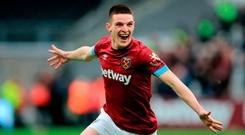 Declan Rice celebrates his goal yesterday. (Photo by Marc Atkins/Getty Images)
