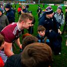 13 January 2019; Joe Canning of Galway with supporters following the Bord na Mona Walsh Cup semi-final match between Dublin and Galway at Parnell Park in Dublin. Photo by Ramsey Cardy/Sportsfile