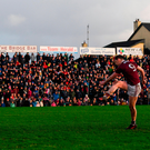 Galway's Thomas Flynn fires home the winning penalty in Tuam yesterday. Photo by Harry Murphy/Sportsfile
