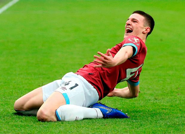 Golden goal: Declan Rice celebrates after scoring for West Ham. Photo: Marc Atkins/Getty Images