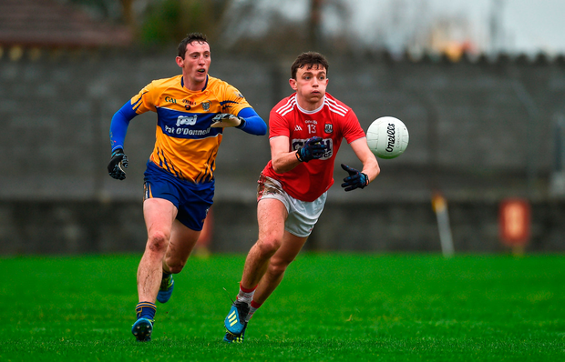 Mark Collins of Cork in action against Cathal O'Connor of Clare. Photo by Diarmuid Greene/Sportsfile