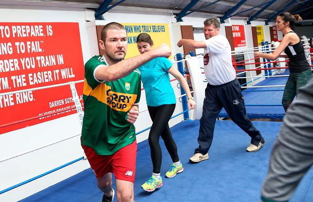 Shedding the pounds: Brendan Griffin working out in his Kerry jersey