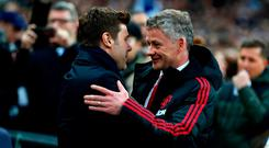 Ole Gunnar Solskjaer commiserating with Mauricio Pochettino. Photo: Clive Rose/Getty Images