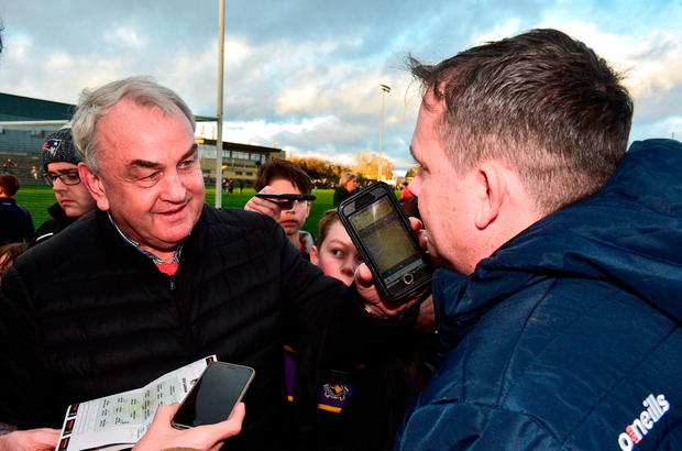 Former GAA president Nickey Brennan interviews Davy Fitzgerald for Community Radio Kilkenny afterwards. Photo by Matt Browne/Sportsfile