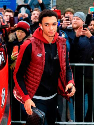 """Liverpool's Trent Alexander-Arnold arrives at the stadium prior to the Premier League match at the AMEX Stadium, Brighton. PRESS ASSOCIATION Photo. Picture date: Saturday January 12, 2019. See PA story SOCCER Brighton. Photo credit should read: Gareth Fuller/PA Wire. RESTRICTIONS: EDITORIAL USE ONLY No use with unauthorised audio, video, data, fixture lists, club/league logos or """"live"""" services. Online in-match use limited to 120 images, no video emulation. No use in betting, games or single club/league/player publications."""