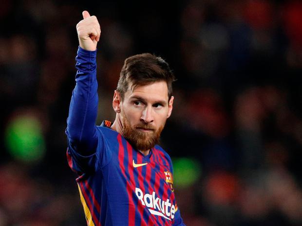 02cc4cee8bf Barcelona s Lionel Messi celebrates scoring another sublime hat-trick