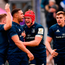 Adam Byrne, second from left, celebrates after scoring his side's fourth try with his Leinster team-mates, from left, Jordan Larmour, Josh van der Flier and Garry Ringrose