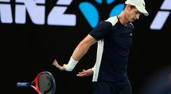 Andy Murray reacts during the match against Spain's Roberto Bautista Agut