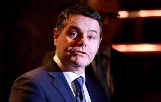 Paschal Donohoe, Minister for Finance, Public Expenditure and Reform, pictured speaking to the media at the Fine Gael Think in at the Alex Hotel, Dublin. Photo: Frank McGrath