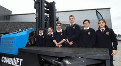 Encouraged to consider options: Peter Lennon, Molley Vesey, Kamil Podgajny, Harald Timma, Sam Convery and Anouk Hochstrasser from St Bricin's College, Belturbet, Co Cavan, at the launch of the apprentice scheme. Photo: Philip Fitzpatrick