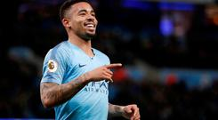 Manchester City's Gabriel Jesus celebrates scoring their first goal. Action Images via Reuters/Carl Recine