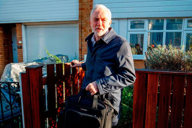 Labour leader Jeremy Corbyn leaves home yesterday. Photo: AFP/Getty Images