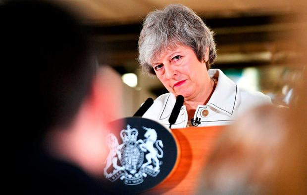 Endgame: UK Prime Minister Theresa May gives a speech at a factory in Stoke. Photo: AFP/Getty Images