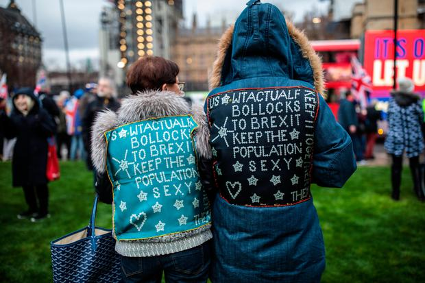 Anti-Brexit protesters demonstrate outside the Houses of Parliament (Photo by Jack Taylor/Getty Images)