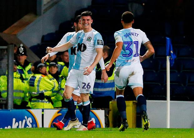 Blackburn Rovers' Darragh Lenihan celebrates scoring their second goal with Elliott Bennett