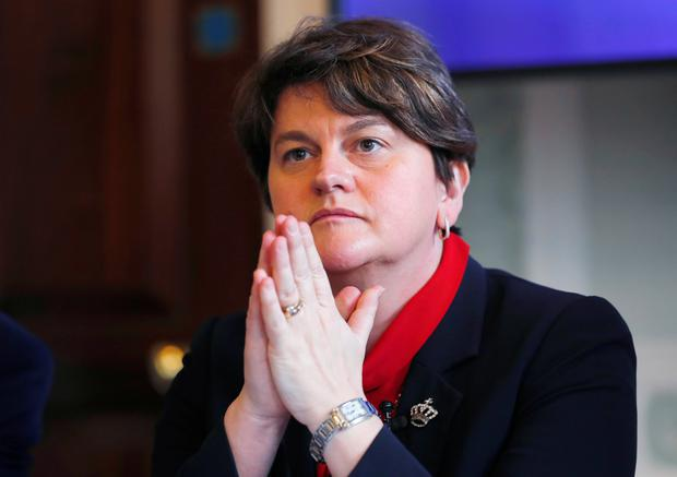 Democratic Unionist Party leader Arlene Foster attends