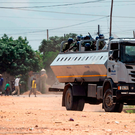 Anti riot police stands on a truckload engaging in running battles with protestors in Emakhandeni township, Bulawayo, Zimbabwe on January 15, 2019. Photo: AFP/Getty