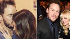 Chris Pratt announced his engagement to Katherine Schwarzenegger, left, and with ex-wife Anna Faris, right