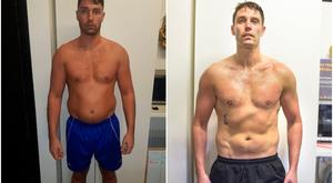 Ian Gaughran before and after his seven-week transformation.
