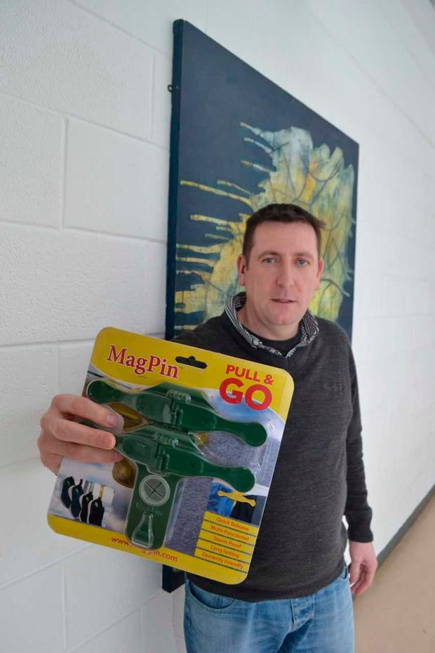 IT Sligo Creative Design student Paul Roper with his clothes peg redesign, the 'Magpin'