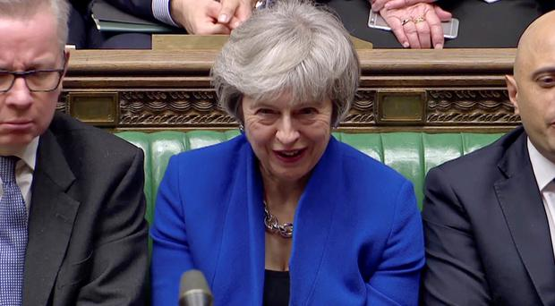 British Prime Minister Theresa May reacts during a confidence vote debate after Parliament rejected her Brexit deal, in London, Britain, January 16, 2019, in this screen grab taken from video. Reuters TV via REUTERS