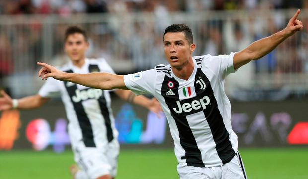 718bd7b99 Juventus  Cristiano Ronaldo celebrates after scoring his side s winning  goal during of the Italian Super