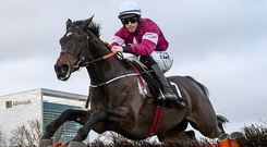 Apple's Jade, with Jack Kennedy up, clear the last on their way to winning the Squared Financial Christmas Hurdle during day three of the Leopardstown Festival at Leopardstown. Photo: David Fitzgerald/Sportsfile