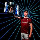 Raising the bar: Galway forward Shane Walsh with the Allianz FL Division One trophy in Dublin yesterday. Photo: Brendan Moran/Sportsfile