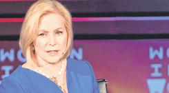 Running: Senator Kirsten Gillibrand made her declaration in an appearance on the Stephen Colbert TV chat show. Photo: Getty Images