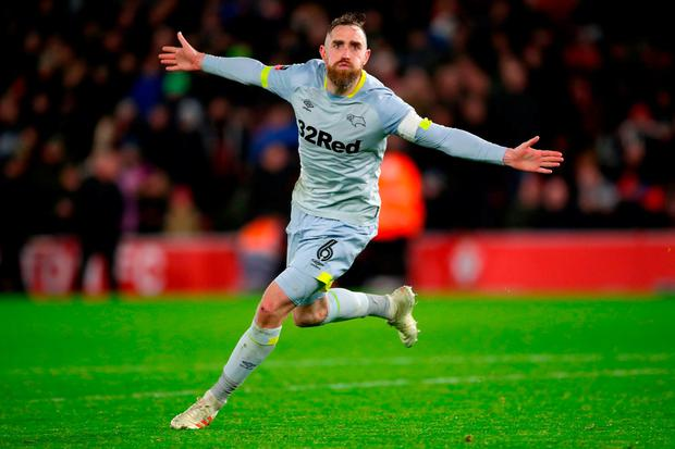 Derby County's Richard Keogh celebrates winning the match in the penalty shoot out during the Emirates FA Cup third round replay match at St Mary's Stadium. Nick Potts/PA Wire.