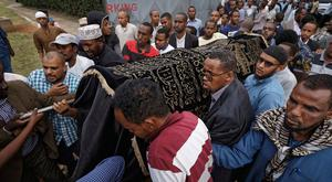 Mourners carry the body of Feisal Ahmed, who was killed with his colleague Abdalla Dahir in Tuesday's attack, as they leave a mosque and head to the funerals in Nairobi, Kenya Wednesday, Jan. 16, 2019. The two worked for the Somalia Stability Fund, managed by the London-based company Adam Smith International, and were killed in Tuesday's assault by Islamic extremist gunmen on a luxury hotel and shopping complex. (AP Photo/Ben Curtis)