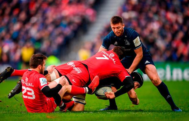 PASSED OVER: Leinster out-half Ross Byrne in action against Toulouse. Photo: Stephen McCarthy/Sportsfile