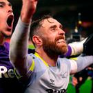 Derby County's Richard Keogh celebrates after the FA Cup third round replay. Photo: Nick Potts/PA