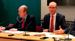 Oops: Transport Minister Shane Ross apparently let slip the Government's thoughts on Border checks as he gave a joint briefing with Tánaiste Simon Coveney on Tuesday. Photo: Michelle Devane/PA