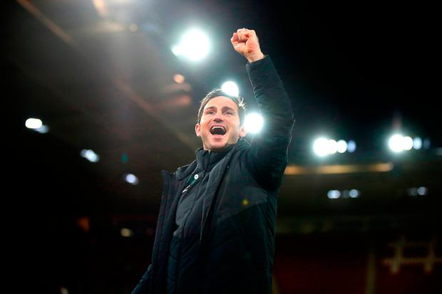Derby County manager Frank Lampard celebrates after the final whistle