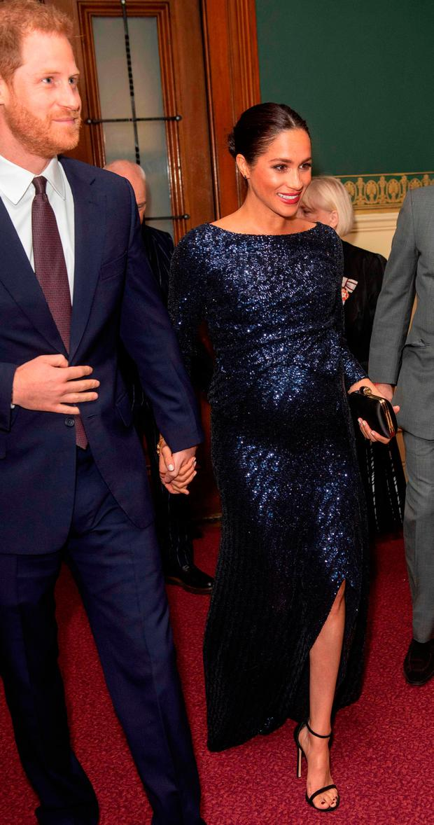 Meghan, Duchess of Sussex and Britain's Prince Harry, Duke of Sussex, attend the premiere of Cirque du Soleil's Totem in support of Sentebale at the Royal Albert Hall in London on January 16, 2019. (Photo by Paul Grover / POOL / AFP)