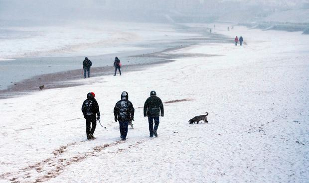 Snow fall on the beach at Whitley Bay, North Tyneside. Thursday January 17, 2019. Owen Humphreys/PA Wire
