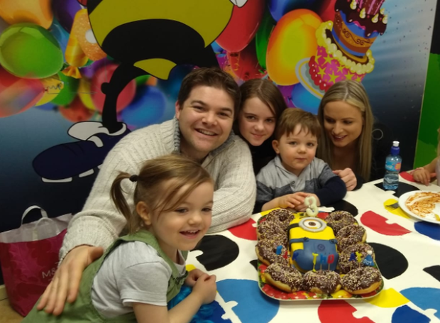 Dylan with his parents Geoff and Cathriona, and his sisters Freya (left) and Brianna (middle)