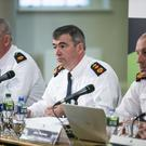 Garda Commissoner Drew Harris (centre) flanked by Pat Leahy, Deputy Commissioner (left ) and John Twomey (right) Asst Commissioner at a meeting in Dublin Castle of the Policing Authority on the Garda Youth Diversion Programme. Photo: Kyran O'Brien
