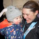 Jasmin Paris with daughter Rowan after winning the 2019 Spine Race. Photograph: Yann Besrest-Butler/MONTANE® Spine® Race