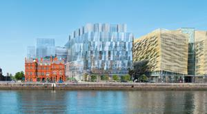 Rental pressures: An artist's impression of what 'Salesforce Tower' could look like. The building will sit beside the new Central Bank offices (on far right) at Dublin's Spencer Dock.