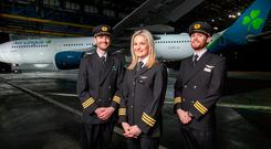 Jet set: First Officers Niall McCauley, Laura Bennett and Paul Deegan at the unveiling of the new livery. Photo: Naoise Culhane