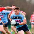 Con O'Callaghan of UCD in action against Mike Lordan of CIT during the Electric Ireland Sigerson Cup Round 1 match between University College Dublin and Cork Institute of Technology at UCD in Dublin. Photo by Matt Browne/Sportsfile