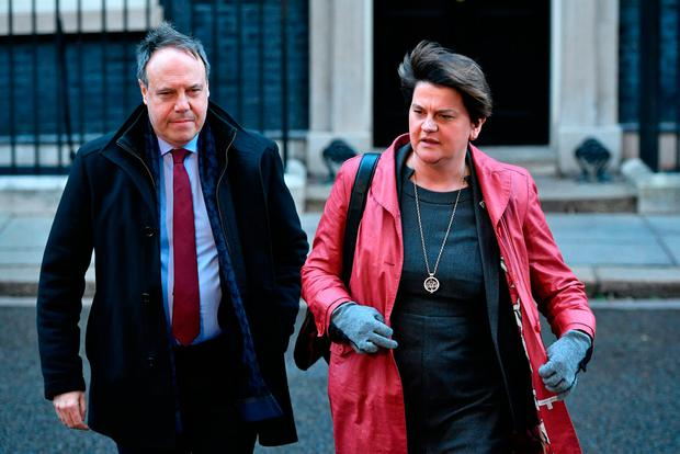 Downing Street: DUP deputy and Westminster leader Nigel Dodds and leader Arlene Foster in London yesterday. Photo: PA