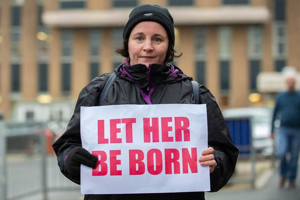 An abortion protest outside a hospital in Drogheda. Photo: Ciara Wilkinson
