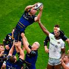 James Ryan claims a lineout in front of Saracens' Maro Itoje in last year's Champions Cup semi-final. Photo: Sportsfile