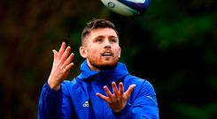 Ross Byrne during Leinster Rugby squad training at Rosemount in UCD, Dublin. Photo by Ramsey Cardy/Sportsfile