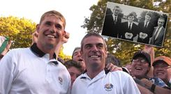 Padraig Harrington and Paul McGinley celebrate beating Tiger Woods and Davis Love III in a foursomes game at Oakland Hills in 2004; Inset: The pair pose with trophies won for Colaiste Eanna